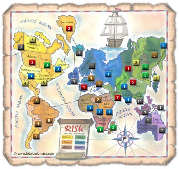 Total Diplomacy Risk Map: ScatteredRedOnMap_2