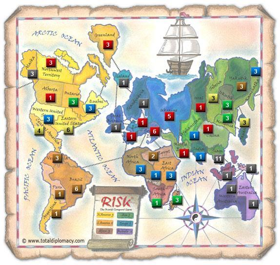 Total Diplomacy Risk Map: ScatteredRedOnMap_3