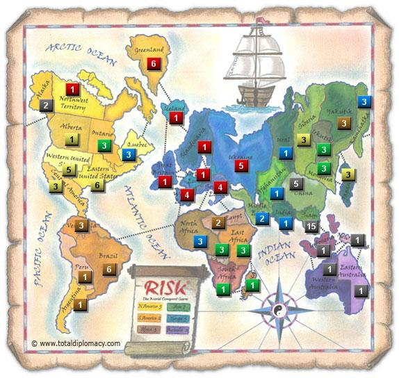 Total Diplomacy Risk Map: ScatteredRedOnMap_4