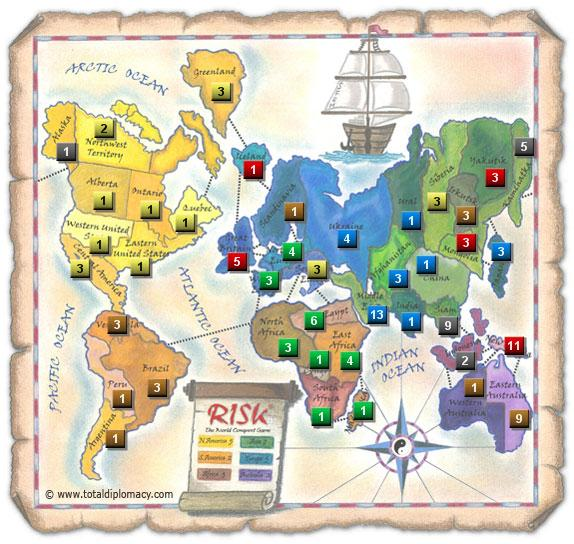 Total Diplomacy Risk Map: ThreeContinentsThreeNot