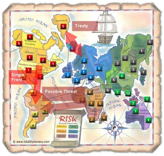 Total Diplomacy Risk Map: Tipping-Point-As-Red