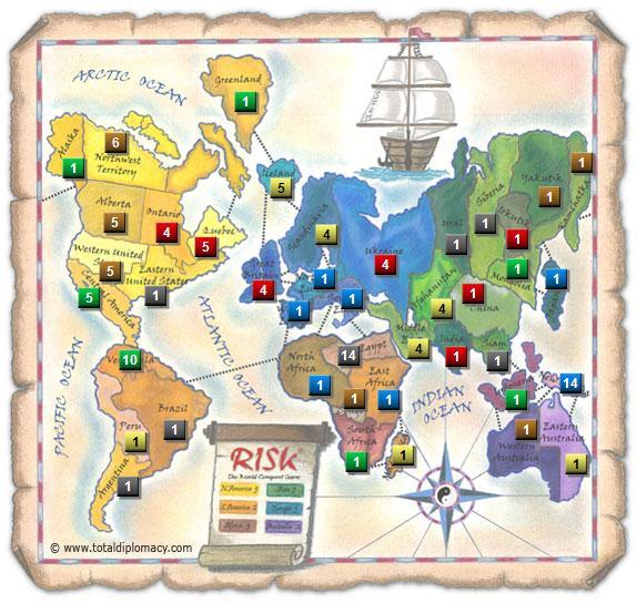 Total Diplomacy Risk Map: Turn-0